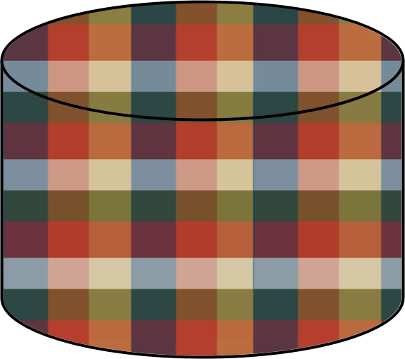 A plaid storage cylinder